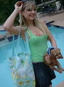 Petite Blonde Jana Rocks Shows Off Her Perky Tits In A Bra That Matches Her Booty Shorts - Picture 1